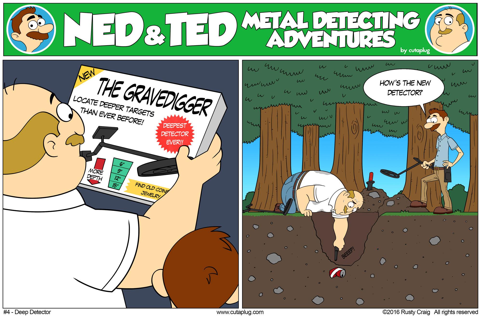 Ned and Ted Metal detecting comics | Metal detecting cartoons